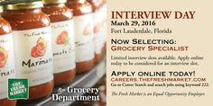 The Fresh Market TFM Grocery Market Store Jobs: Grocery Specialist Job Openings in Fort Lauderdale    http://www.thefreshmarketcareers.com/position.asp?ReqID=303