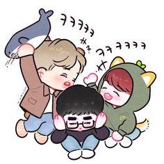 Cre: the owner/as logo Kaisoo, Chanbaek Fanart, Baekhyun Fanart, Exo Xiumin, Kpop Exo, Kpop Fanart, Exo Cartoon, Cartoon Fan, Cartoon Drawings