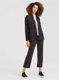 Shop Women STYLE WITHIN REACH and other women's casual, designer clothing that effortlessly combines timeless, elegant lines with sustainable fabrics from EILEEN FISHER. Airport Attire, Travel Chic, Sustainable Fabrics, Elegant Outfit, High Collar, Eileen Fisher, Organic Cotton, Casual Outfits, Clothes