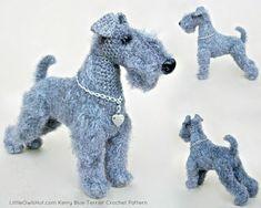 103 Kerry Blue Terrier Hund mit Drahtrahmen - Amigurumi Häkeln Muster PDF-Datei von Chirkova Etsy