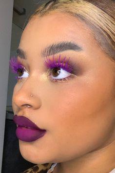This makeup artist is going viral for matching her lashes to her lipstick Purple Makeup Looks, Makeup Eye Looks, Pretty Makeup, Black Makeup, Makeup Goals, Makeup Inspo, Makeup Inspiration, Makeup Ideas, Goth Makeup