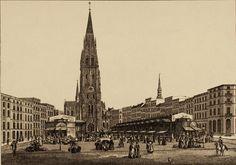 Um 1850 Hamburg - Der Hopfenmarkt und die St. Nikolai Kirche in Hamburg (D. M. Kanning) ☺