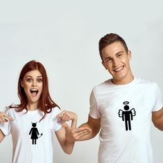 """T-shirt couple """"Ange et Démon"""" T-shirt Couple, Ange Demon, Couple Tshirts, T Shirts For Women, Couples, Tops, Fashion, Matching Clothes, Moda"""
