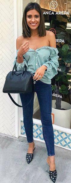 stylish look   off shoulder stripped shirt + bag + skinnies + heels