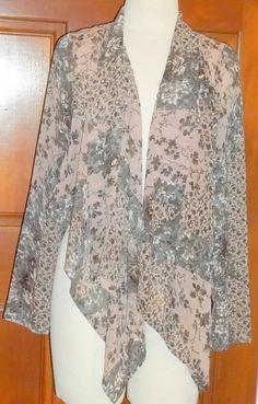 ANTHROPOLIGIE BLUE BIRD beige polyester floral long sleeve blouse L (T1104B7G) #BLUEBIRD #Blouse #Casual