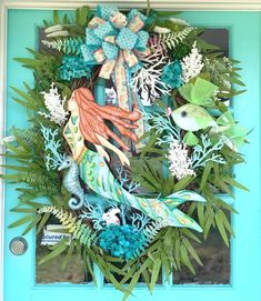 Coastal WreathMermaidBeach wreath for front doorHotel Coastal Wreath, Nautical Wreath, Cemetery Headstones, Mermaid Beach, Little Fish, Hotel Decor, Patriotic Decorations, Metallic Paint, Wreaths For Front Door