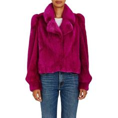 Co Mink Fur Crop Coat | Barneys New York ❤ liked on Polyvore featuring outerwear, coats, barneys new york, cropped coat, mink coat, mink fur coat and purple coats