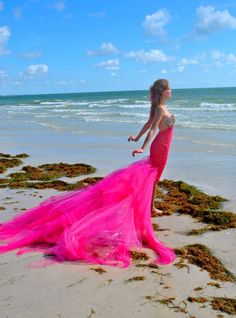 Aphrodite pink shell mermaid siren beach Bridal Couture Ricky Lindsay Gown Fashion Dress Wedding. $697.00, via Etsy.