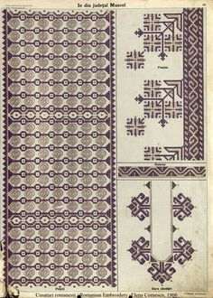 Ie Muscel Folk Embroidery, Embroidery Patterns, Machine Embroidery, Stitch Patterns, Antique Quilts, Traditional Outfits, Diy And Crafts, Cross Stitch, Crafty