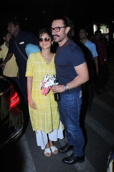 Aamir Khan spotted at airport with his wife Kiran Rao