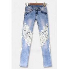 Yoins Skinny Jeans With Crochet Lace Panel (2.325 RUB) ❤ liked on Polyvore featuring jeans, blue, flower print skinny jeans, blue denim jeans, sexy jeans, floral denim jeans and floral print jeans
