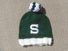 MICHIGAN STATE Hand Knit Baby Hat  MSU Spartans by UpNorthKnits, $25.00