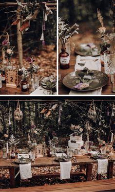 Into the Woods: Naturverbundene Hochzeit im Wald – Hochzeitskiste – Red Unicorn Forest Wedding Decorations, Wedding Centerpieces, Lizzie Mcguire, Dream Wedding, Wedding Shit, Wedding Stuff, Makeup Ads, Boho Vintage, Simple Makeup Looks