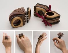 Ring | Theresa Duong. 'Portable Book'. Walnut, Ash wood, linen, handmade paper.