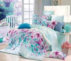Free Shipping flower blue floral cotton queen size 4pc bedding duvet covers teen bedding bedroom sets bedspreads bedding sets US $98.00
