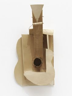 """Pablo Picasso. MAQUETTE FOR GUITAR. paris, 1912, cardboard, string and wire, 25.75 x 13 x 7.5"""" MoMA CUBIST SCULPTURE"""