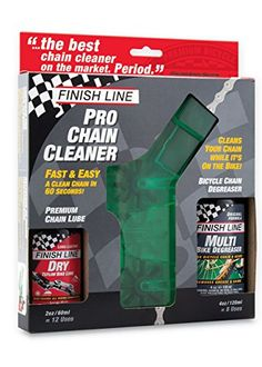 Finish Line Shop Quality Bicycle Chain Cleaner Kit with Lube and Degreaser - Quick, efficient and easy to use. No removal of your bicycle chain necessary! The Shop Quality Chain Cleaner features 3-Brush rotating brush design and scrubber pads for fast, thorough cleaning. Clips onto chain and in just 60 seconds, your chain is clean. Use once a month to maximize bicycle cha...