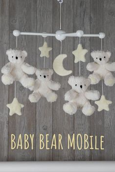 For young Cubs, bedtime is a dream come true with dancing Bears gently swaying overhead. Made with a quartet of floppy Bears and fleece stars and moon, this captivating wooden Bear Mobile promises to enchant little ones when they're winding down and ju Unique Baby Gifts, Personalized Baby Gifts, Baby Decor, Nursery Decor, Vermont Teddy Bears, Bear Nursery, Wooden Stars, Gifts For New Moms, Soft Blankets