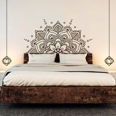 Bohemian Yoga Mandala Headboard Wall Sticker - 21 teal / 57x28cm