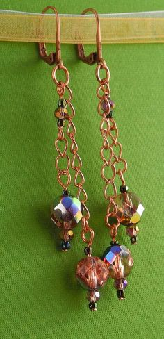 Crystal on Chain Earrings on Etsy, $19.00