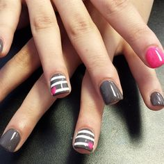 Grey pink heart by nailchic9 from Nail Art Gallery