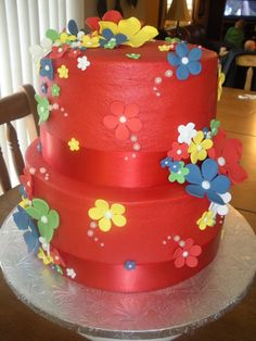 Red Tiered Cake with Flowers