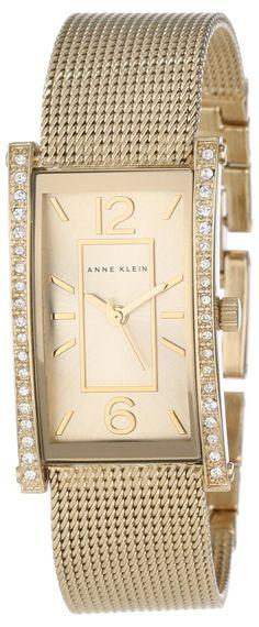 Anne Klein Women's AK/1270CHGB Swarovski Crystal Accented Gold-Tone Mesh Bracelet Watch : Disclosure: Affiliate link