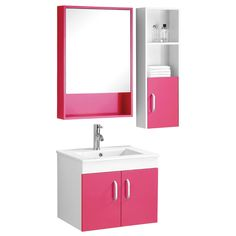 Beaumont Basin, Under Sink Cabinet, Mirrored Cabinet and Side Cabinet Set, Hot Pink