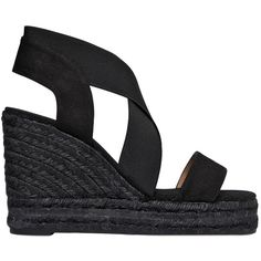 Castañer Women 110mm Cotton & Elastic Wedge Sandals ($140) ❤ liked on Polyvore featuring shoes, sandals, black, wedge heel sandals, platform shoes, black wedge heel sandals, black high heel sandals and high heel sandals
