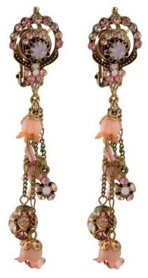 Michal Negrin Marvelous Clip-on Dangle Earrings Adorned with Hyacinth Flowers and Spherical Elements Suspended on Falling Chains, Beige and Pink Swarovski Crystals; Victorian Style: Michal Negrin: Jewelry