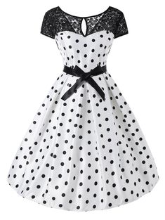 Polka Dot Lace Panel Short Sleeve Dress : Cheap Fashion online retailer providing customers trendy and stylish clothing including different categories such as dresses, tops, swimwear. Vintage Dresses Online, 50s Dresses, Pretty Dresses, Belted Dress, Dot Dress, Dress Outfits, Fashion Outfits, Cheap Fashion, Women's Fashion