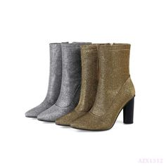 Womens Shoes Mid-Calf Boots Pointy Toe Gold High Block Side Zip Sexy Furry Party