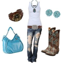 """Brown and Blue Boots"" by sarah-jones-3 ❤ liked on Polyvore... Jeans are a bit much on the tear but hey."