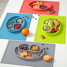 Here's our story and we're sticking it to it. This all-in-one placemat and plate suctions directly to the table so kids can't tip it (or toss it). Plus, the smiley face design is actually perfectly portioned toddler servings (4 and 10 oz.) for fruits or veggies, a protein and a carb.