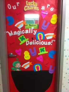 This is the door decorated for Saint Patrick's Day. The students' names are all on a lucky charm, since they are our lucky charms. :-) Door Bulletin Boards, Spring Bulletin Boards, Preschool Bulletin Boards, Bullentin Boards, Classroom Bulletin Boards, Preschool Classroom, March Bulletin Board Ideas, Classroom Ideas, St Patricks Day Crafts For Kids