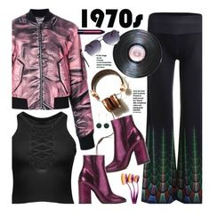 '70 (retro) by beebeely-look on Polyvore featuring Moschino, Dries Van Noten, Bobbi Brown Cosmetics, Vichy, metallic, retro, laceup, sammydress and bomberjackets