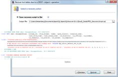 SQL Server 2012 support - Recover data and objects from SQL 2012 databases. Save the recovery script to a file