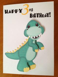 Dinosaur 3rd Birthday card by DaisyCreationsbyJess on Etsy