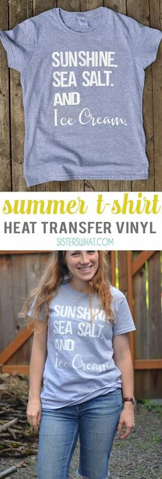 Sunshine sea salt and ice cream summer shirt using heat transfer vinyl
