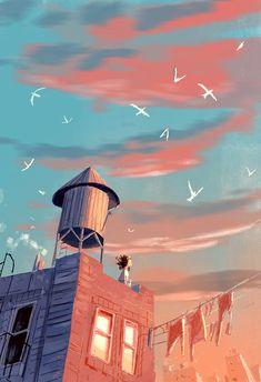 End of September, morning. Super quick one to let energy out! End of September, morning. Pretty Art, Cute Art, Aesthetic Art, Aesthetic Anime, Japon Illustration, Anime Scenery Wallpaper, Anime Art Girl, Landscape Art, Game Design