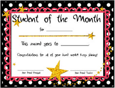 These are Student of the Month Certificates. I have included one with a Lion (our school mascot :) and one with a star in the lion's place! Hope your students feel special receiving this award!! Enjoy!! Look for more at my blog: dancingamonstthestars.blogspot.com.