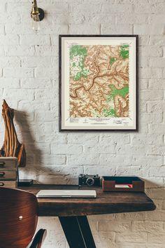 Grand Canyon Topographic Map Printable Map - Vintage U.S National Parks Arizona Art 8x10, 11x14, 16x20