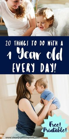 Left wondering what to do with a 1 year old all day long? This list of 20 activities for 1 year olds that you can do every day will take out the guess work! for 1 year old Activities for 1 Year Olds You Can Do Every Day + Printable Toddler Play, Baby Play, Fun Baby, Sensory Activities, Infant Activities, 1year Old Activities, Sensory Bags, Sensory Bottles, Educational Activities