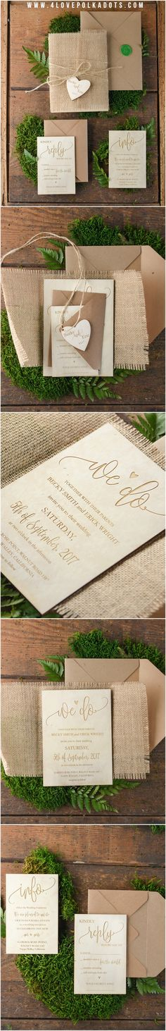 Wooden Rustic Wedding Invitations with burlap wrapping and heart tag - custom engraved #rustic #wood #wooden #weddingideas #countrywedding #handmade #weddingtrends2017