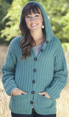 Free Knitting Pattern for Two Row Repeat Angie Hoodie - Hooded cardigan sweater with pockets knit in a two-row repeat garter rib stitch. Designed by Melissa Leapman. Sizes: Small (Medium, Large, 1X, 2X).