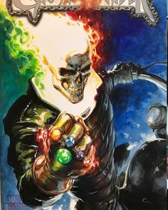 Ghost Rider with the Infinity Gauntlet by Clayton Crain Marvel Dc, Marvel Comics Art, Marvel Heroes, Anime Comics, Avengers Superheroes, Comic Books Art, Comic Art, Spirit Of Vengeance, The Infinity Gauntlet