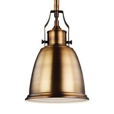 Feiss Hobson 1-Light Aged Brass Mini Pendant-P1357AGB - The Home Depot