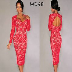 Sz S 8 10 Red Lace Long Sleeve Bodycon Prom Cocktail Party Slim Fit Midi Dress