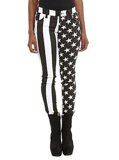 Royal Bones By Tripp American Flag Split Leg Skinny Jeans, , hi-res