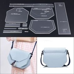 Leather Clear Acrylic Stencil Template Crossbody Bag Pattern Craft Tool - Home stuff Leather Diy Crafts, Leather Craft Tools, Leather Gifts, Leather Projects, Handmade Leather, Leather Bags, Leather Crossbody Bag, Leather Bag Tutorial, Leather Wallet Pattern